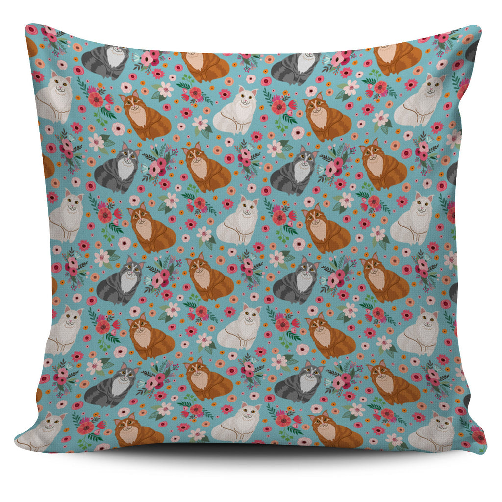 Maine Coon Cat Flower Pillow Cover