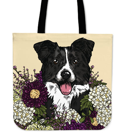Illustrated Border Collie Linen Tote Bag