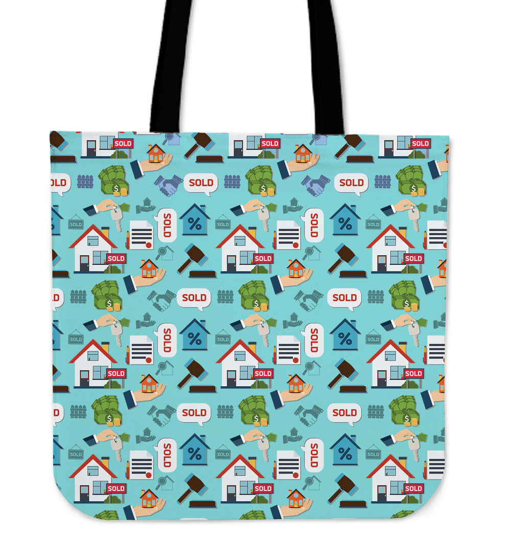 Real Estate Pattern Linen Tote Bag Groove Bags