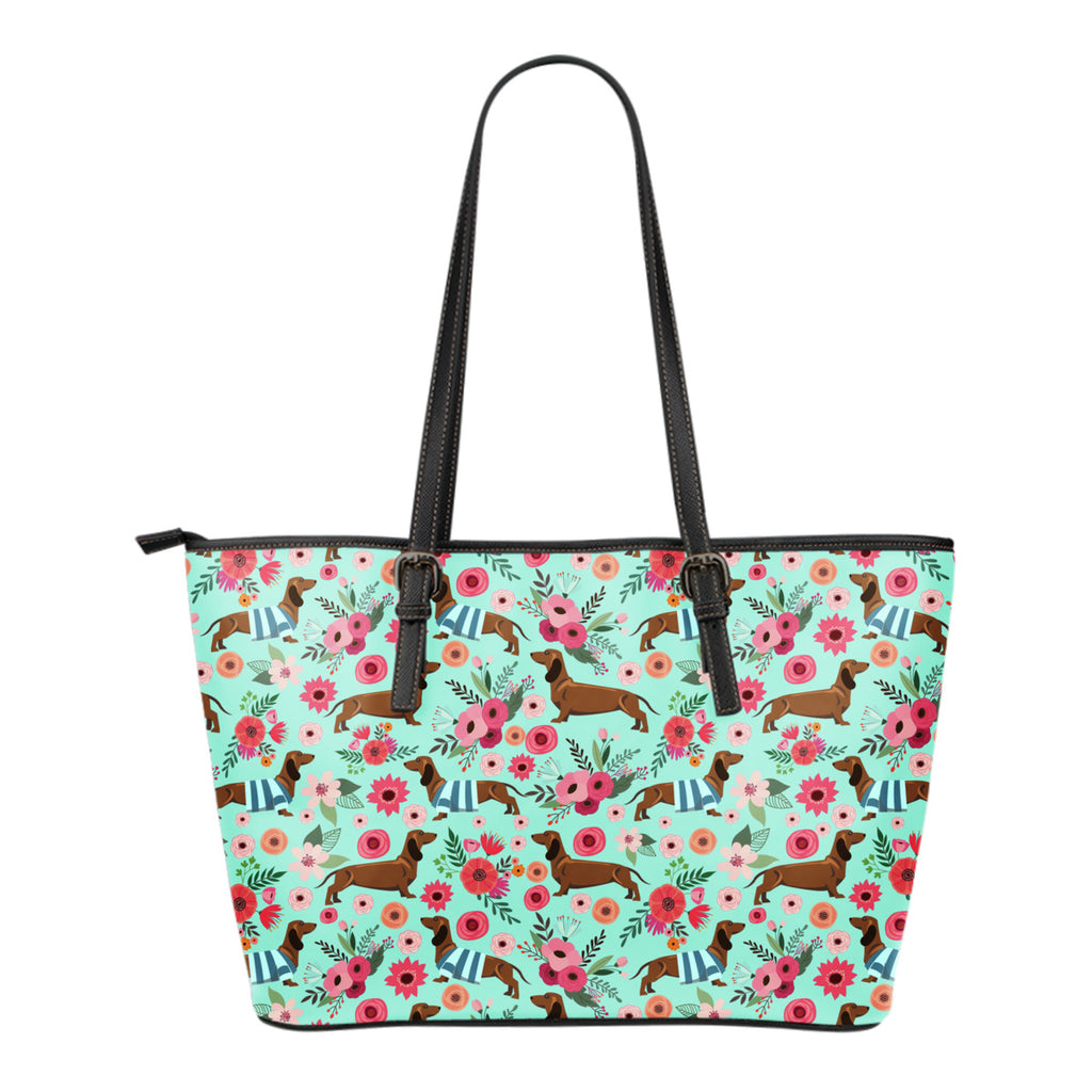 Dachshund Flower Tote Bag
