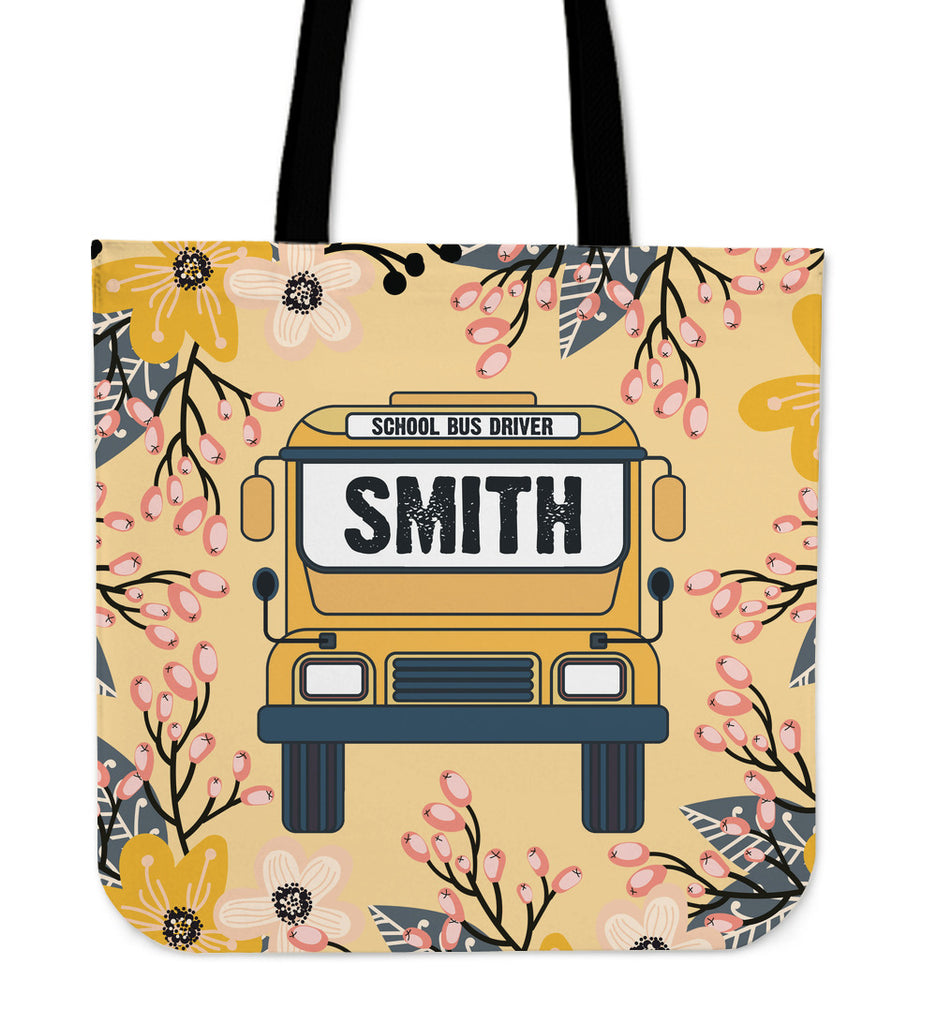 Custom School Bus Driver Linen Tote Bag