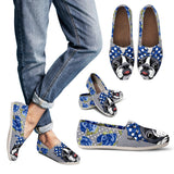 Floral Boston Terrier Blue Casual Shoes