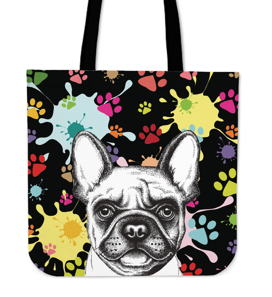 Artsy Frenchie Linen Tote Bag