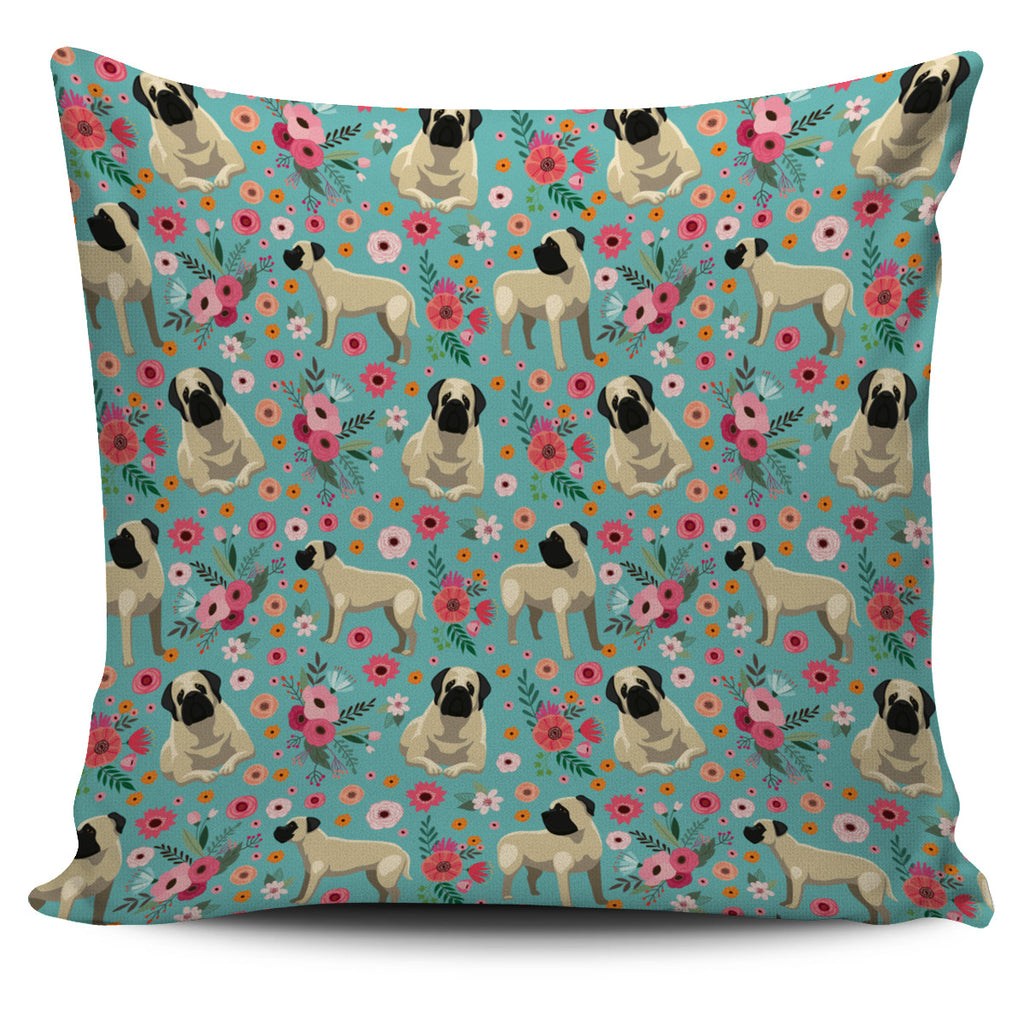 Mastiff Flower Pillow Cover