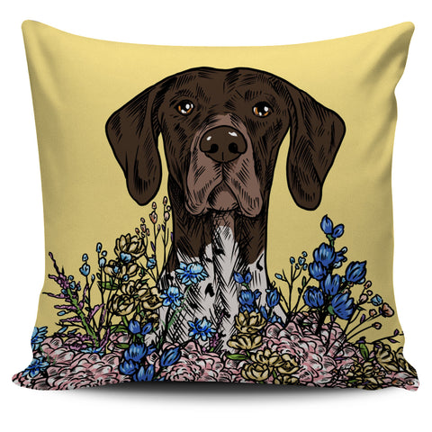 Illustrated German Shorthaired Pointer Pillow Cover