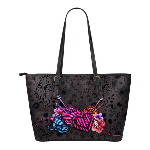 Floral Knitting Tote Bag