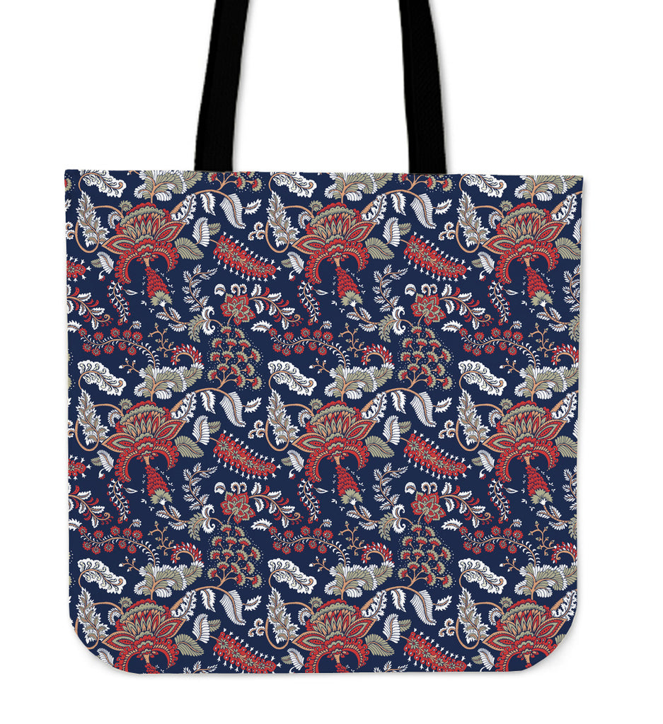 Bohemian Flower Linen Tote Bag