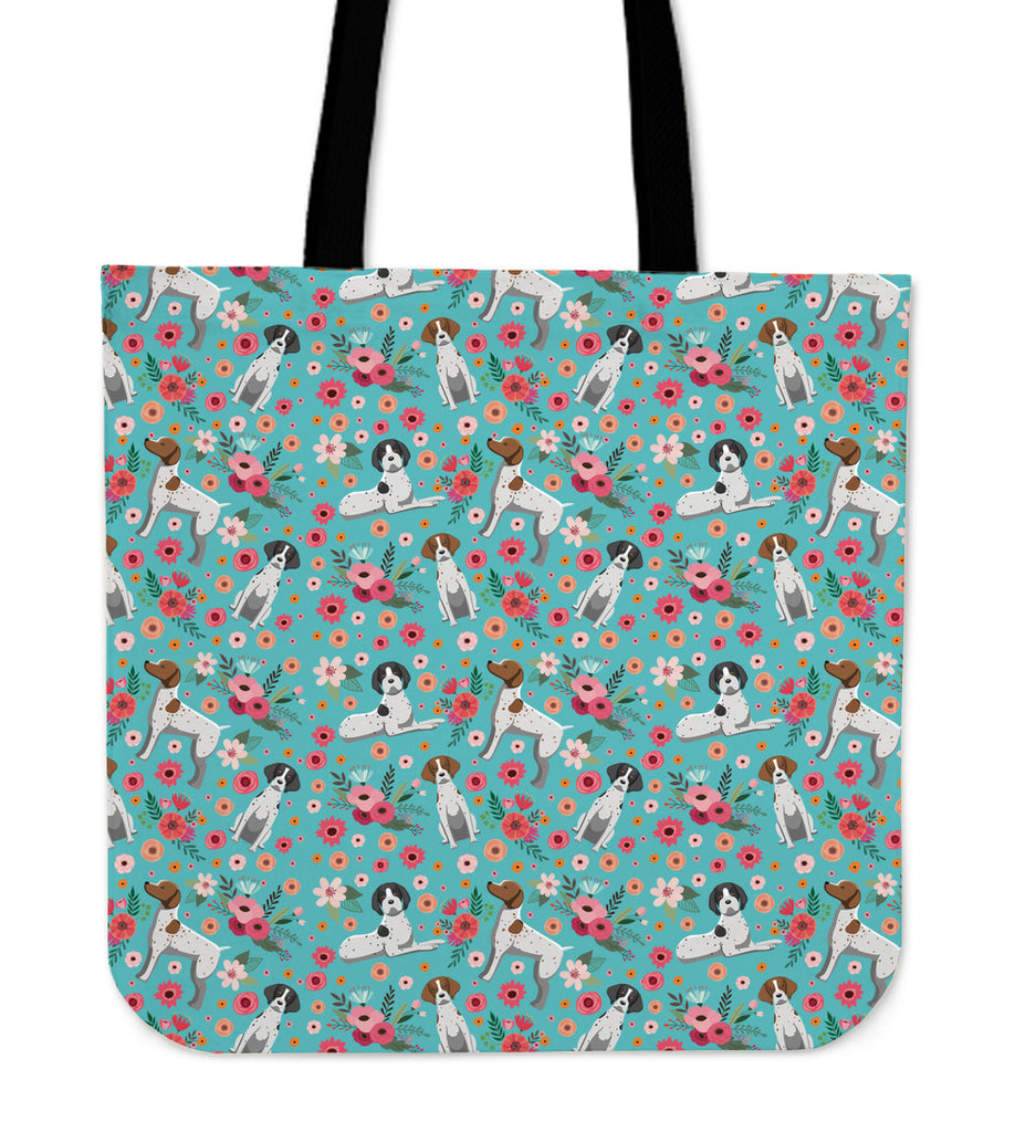 German Short Haired Pointer Flower Linen Tote Bag