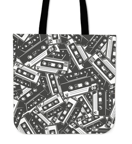 Cassette Tape Linen Tote Bag