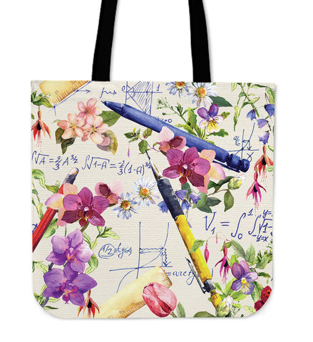 Floral Math Linen Tote Bag