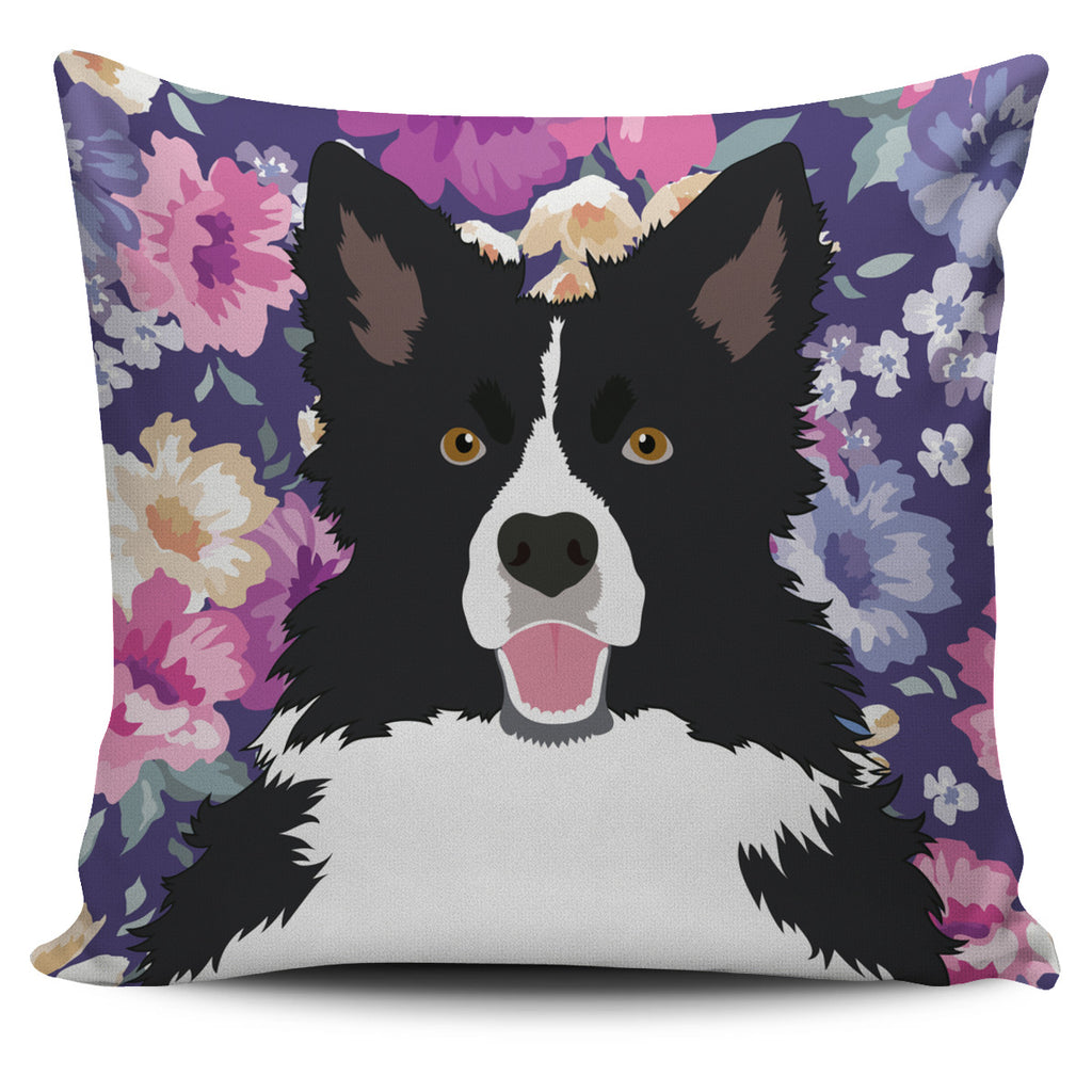 Border Collie Dog Portrait Pillow Cover