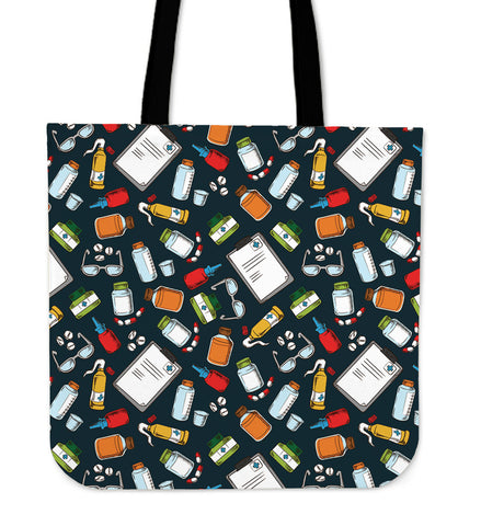 Pharmacist Pattern Linen Tote Bag