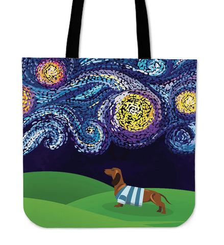 Starry Night Dachshund Linen Tote Bag