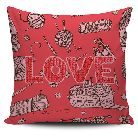 Love Knitting Pillow Cover