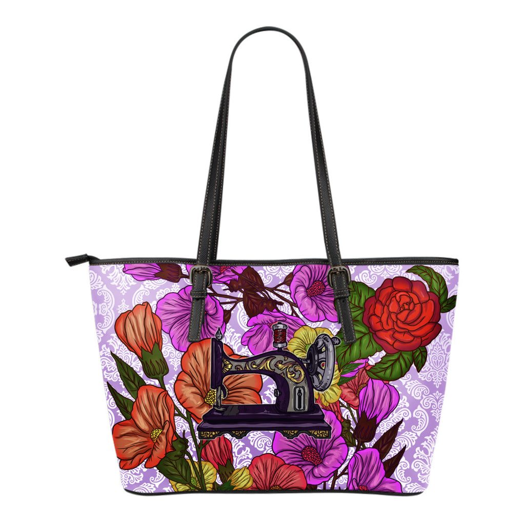 Sewing Machine Floral Tote Bag