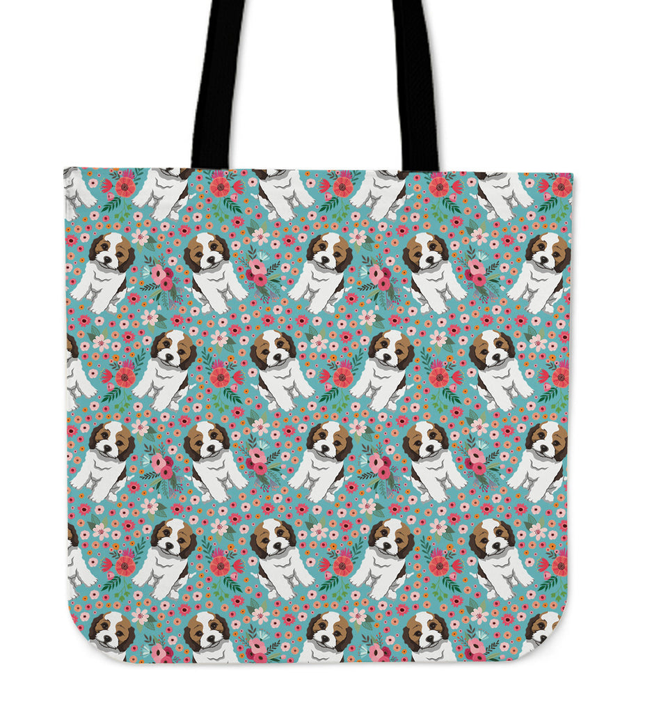 Cockapoo Flower Linen Tote Bag