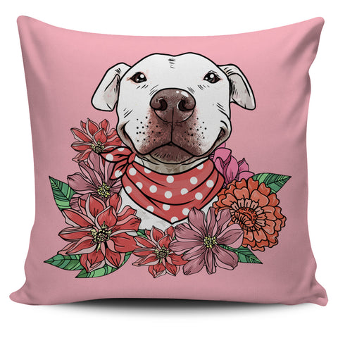 Illustrated Pit Bull Pillow Cover