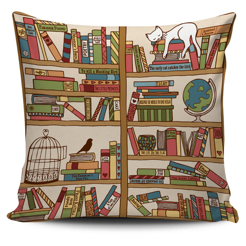 Purrrfect Books Pillow Cover