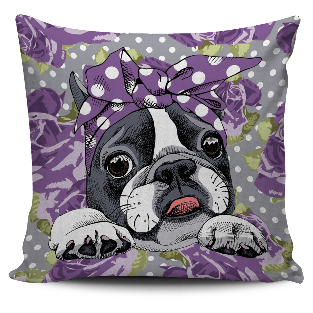 Floral Boston Terrier Purple Pillow Cover