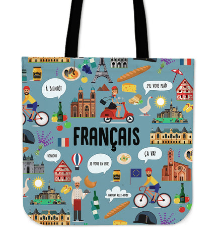 French Teacher Linen Tote Bag