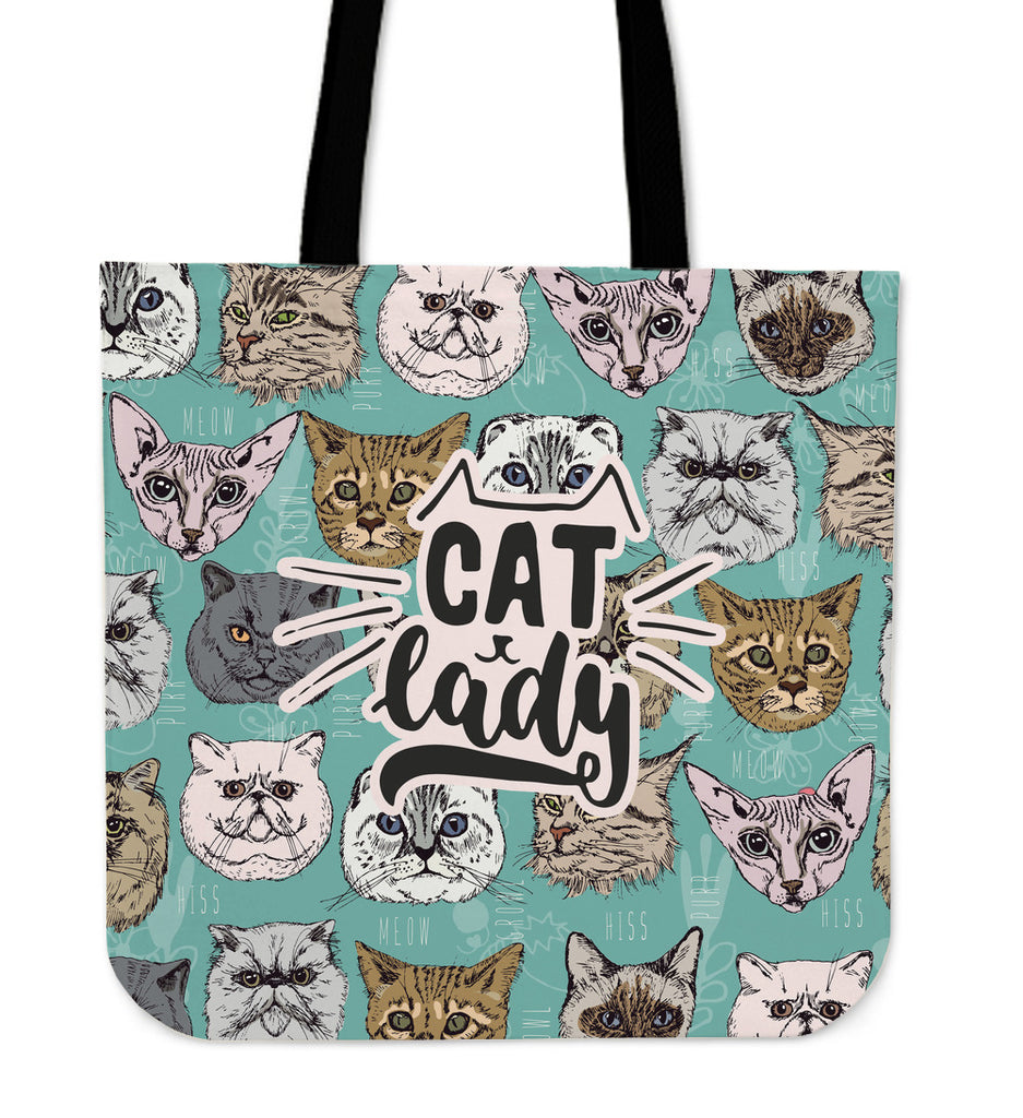 Cat Lady Linen Tote Bag