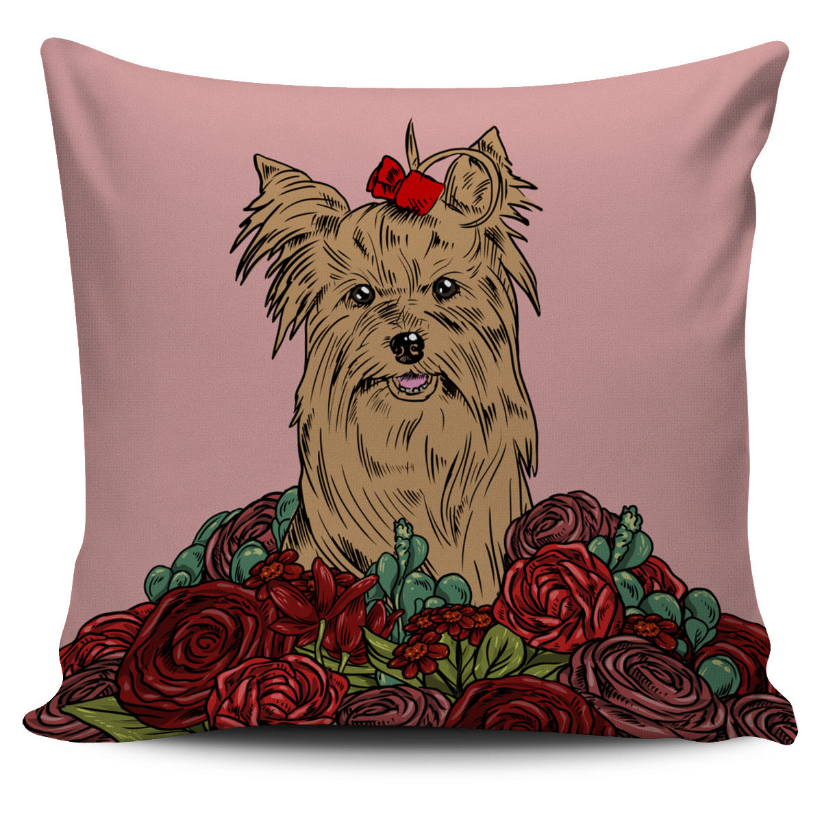 Illustrated Yorkie Terrier Pillow Cover Groove Bags