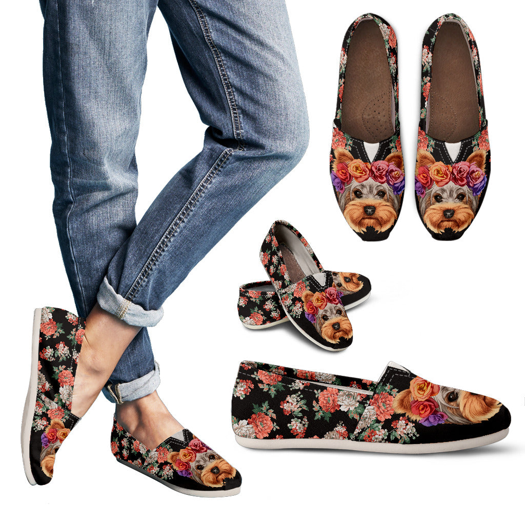 Floral Yorkie Casual Shoes Groove Bags