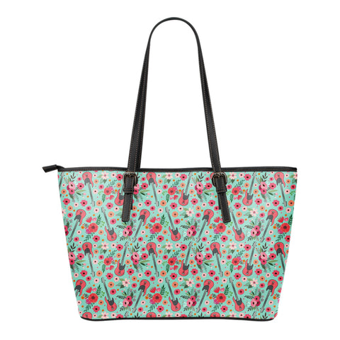 Electric Guitar Flower Tote Bag