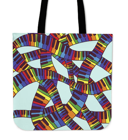 Colorful Keyboard Linen Tote Bag