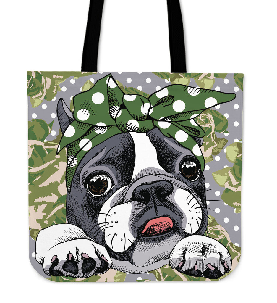 Floral Boston Terrier Green Linen Tote Bag