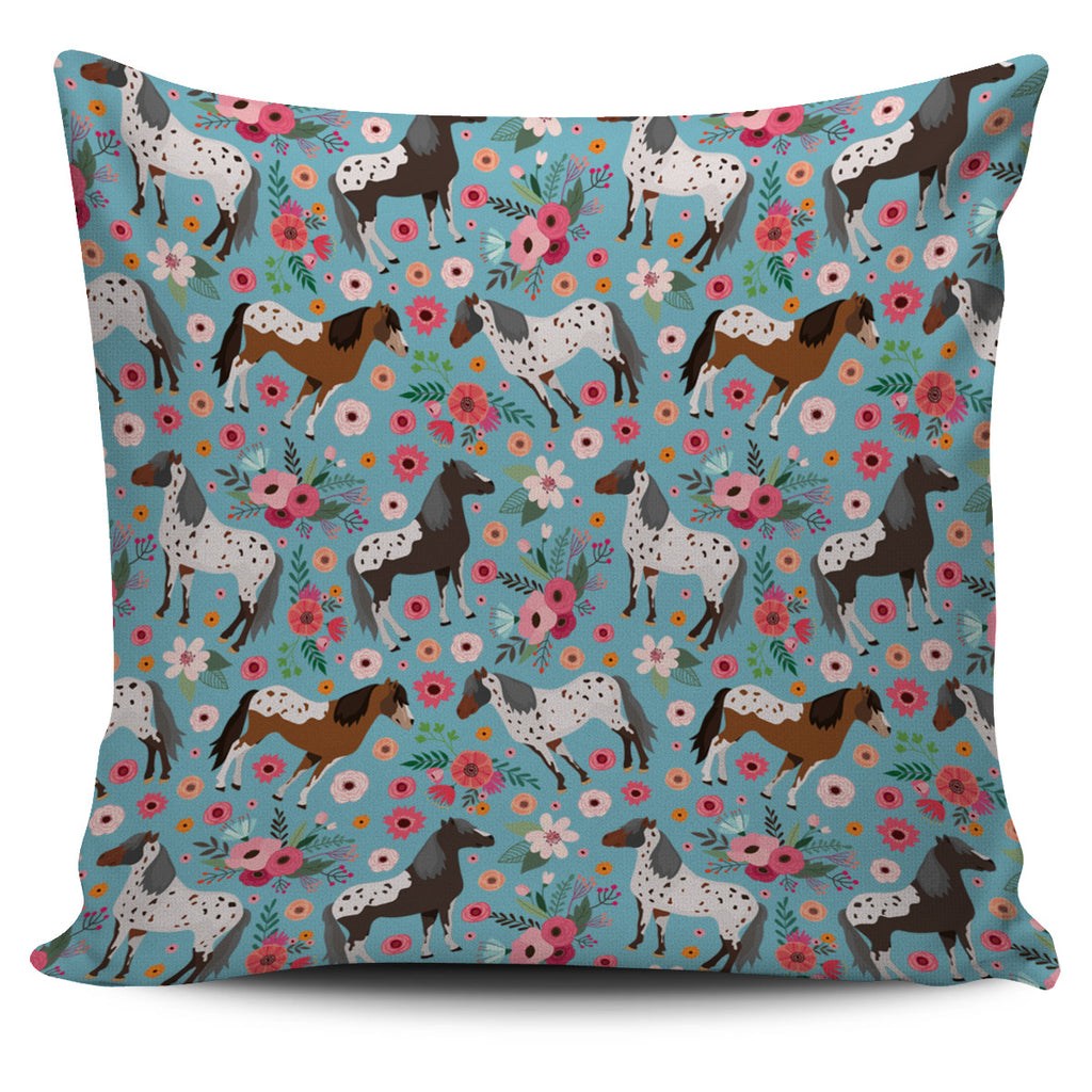 Appaloosa Horse Flower Pillow Cover