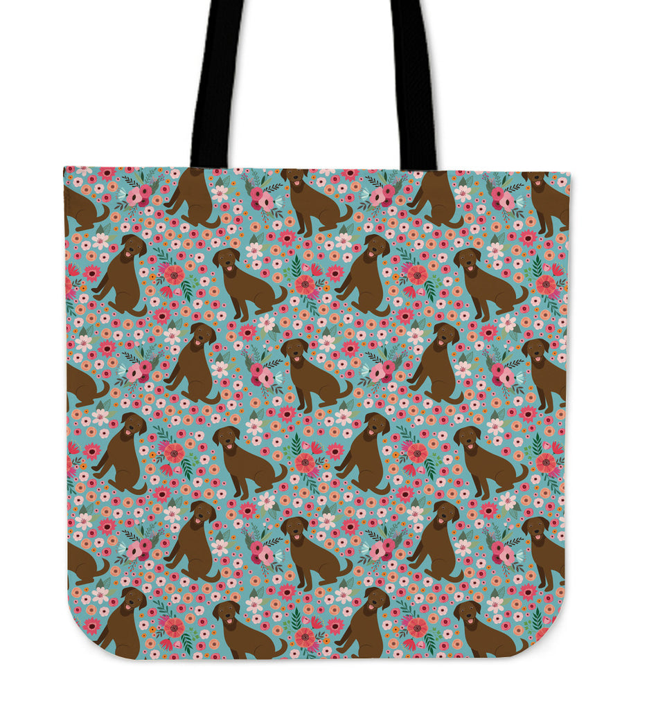Chocolate Labrador Flower Linen Tote Bag