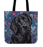 Black Lab Sweetheart Linen Tote Bag