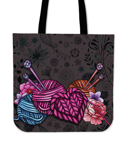 Floral Knitting Linen Tote