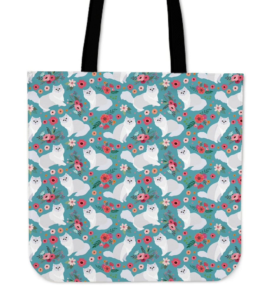 Persian Cat Flower Linen Tote Bag