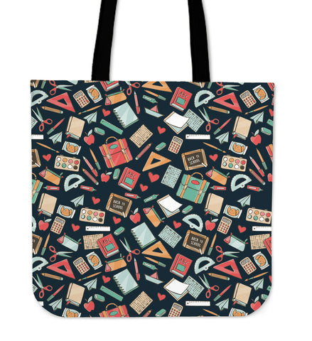 Teacher Pattern Linen Tote
