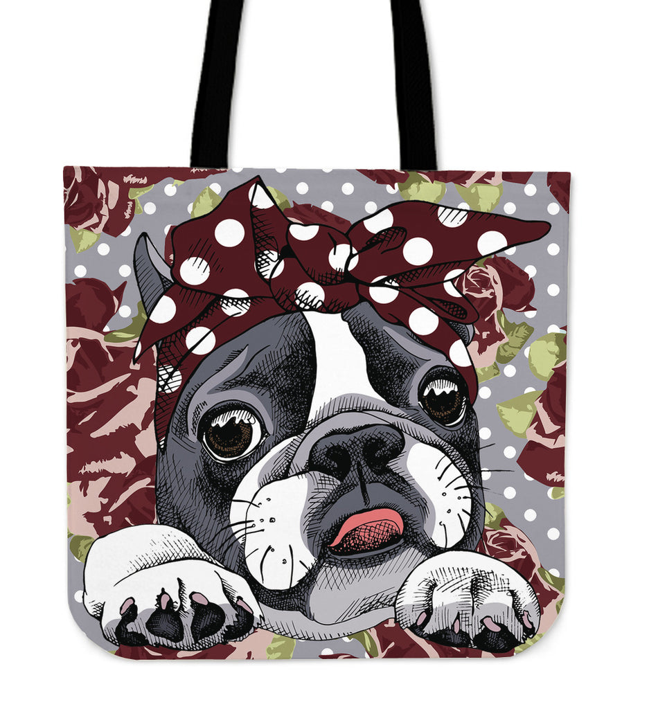 Floral Boston Terrier Dark Red Linen Tote Bag