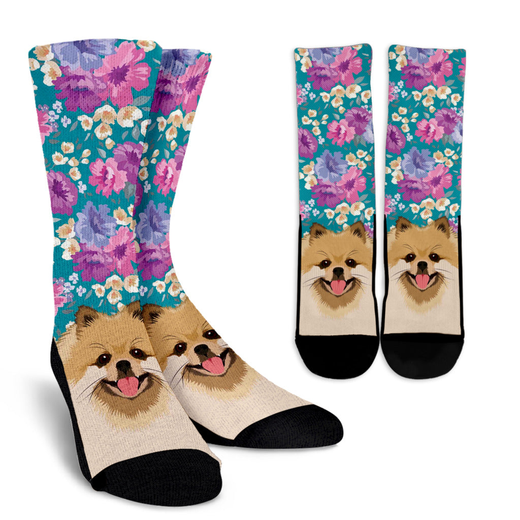 Pomeranian Dog Portrait Socks