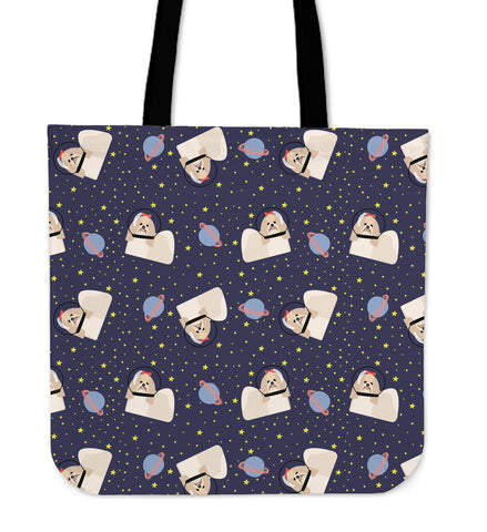 Space Shih Tzu Linen Tote Bag
