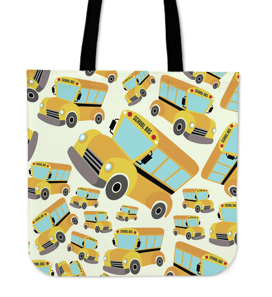 School Bus Pattern Linen Tote Bag