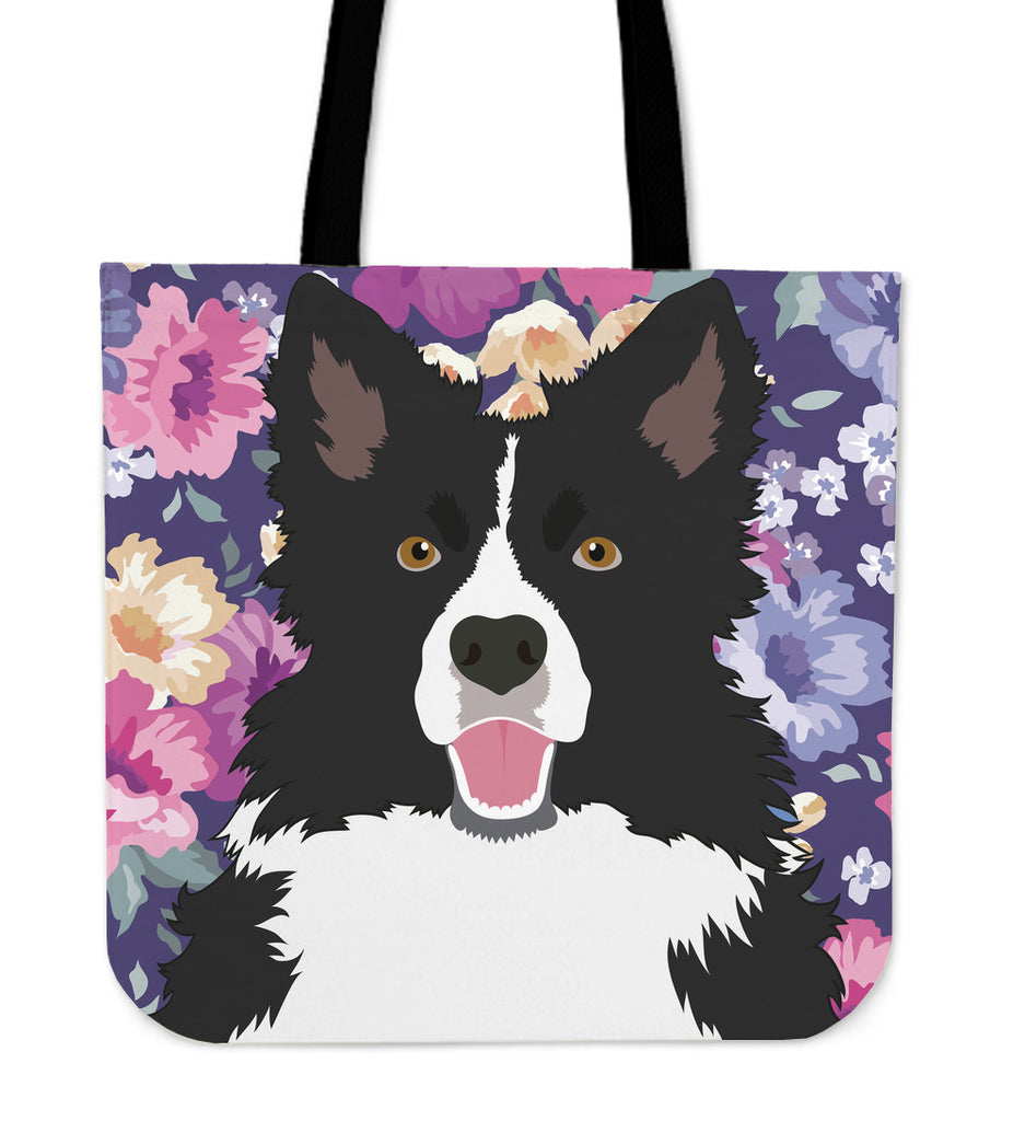Border Collie Dog Portrait Linen Tote Bag