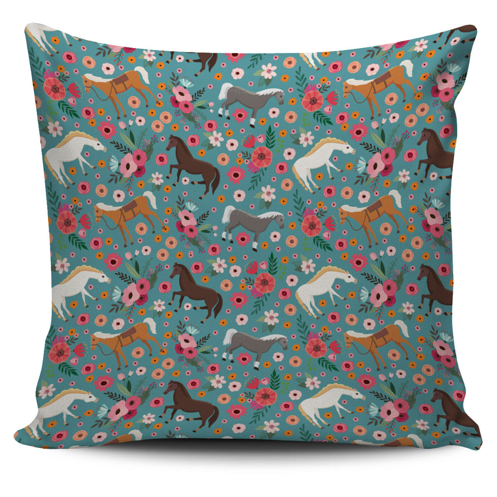 Horse Flower Pillow Cover