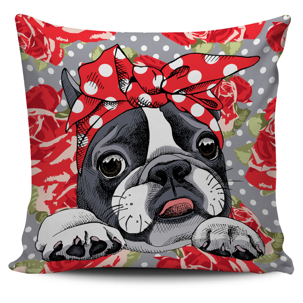 Floral Boston Terrier Red Pillow Cover