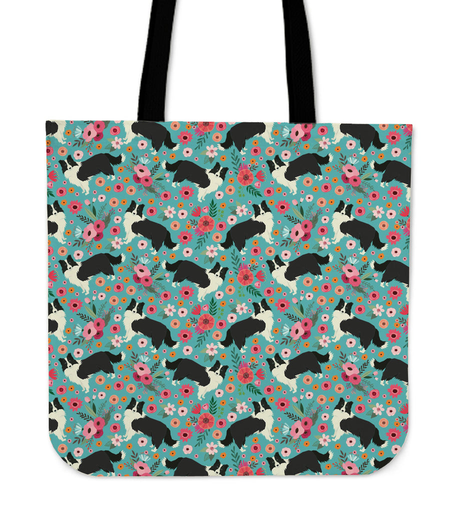 Border Collie Flower Linen Tote Bag