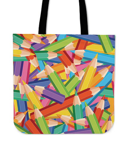 Colorful Pencils Linen Tote Bag