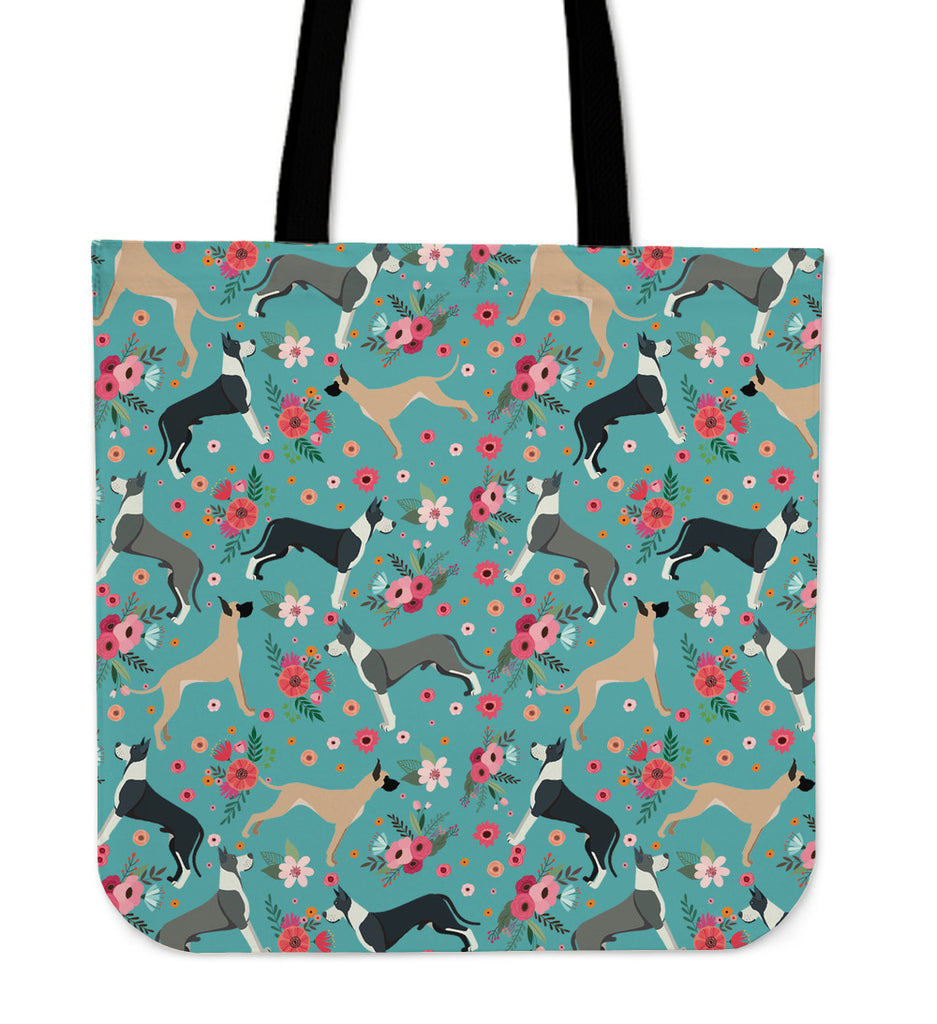 Great Dane Flower Linen Tote Bag