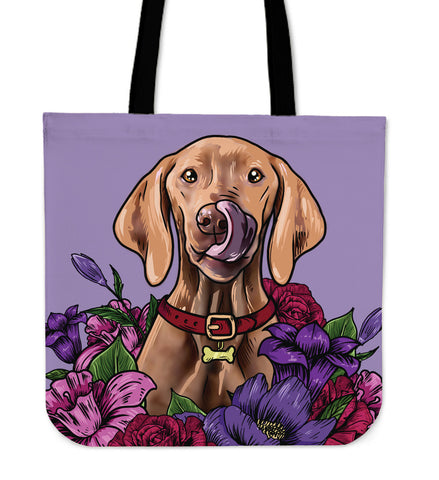 Illustrated Vizsla Linen Tote Bag