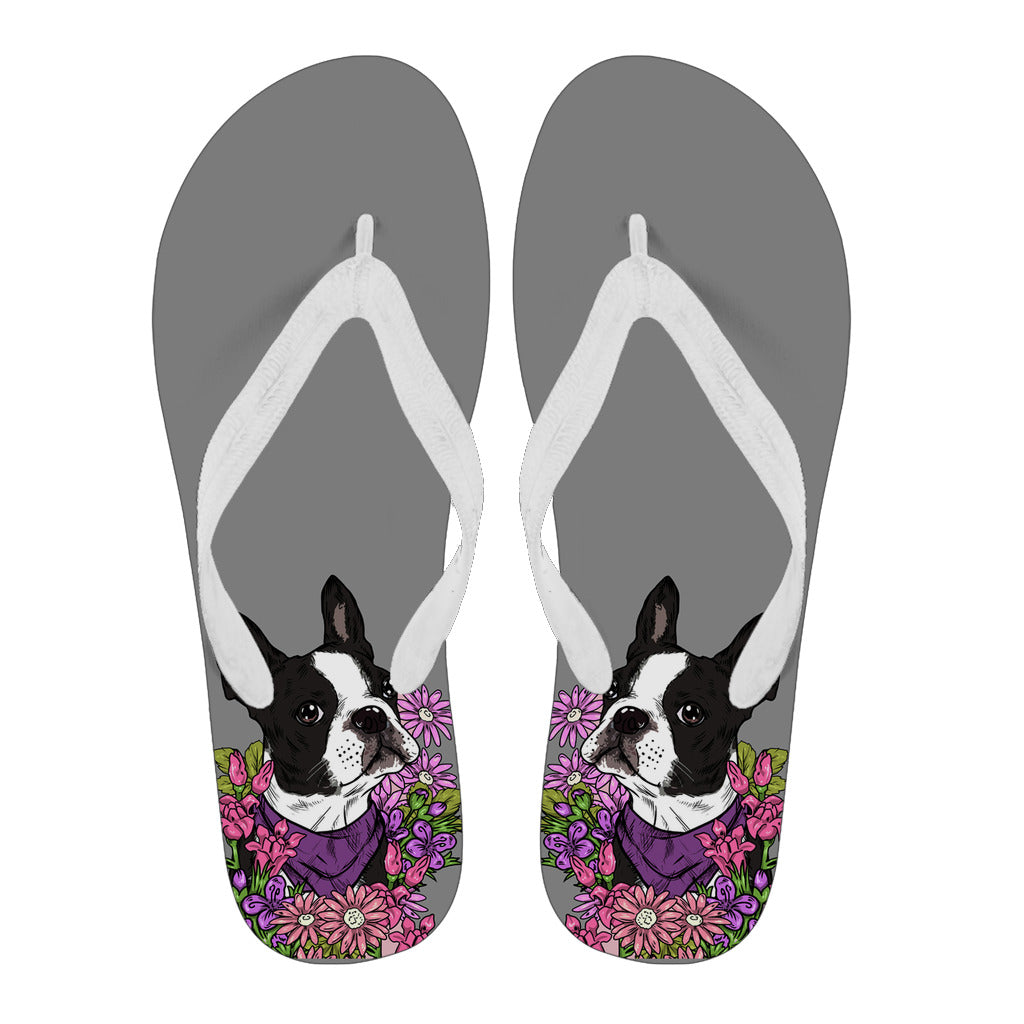 829bfbe96a37 Illustrated Boston Terrier Flip Flops – Groove Bags