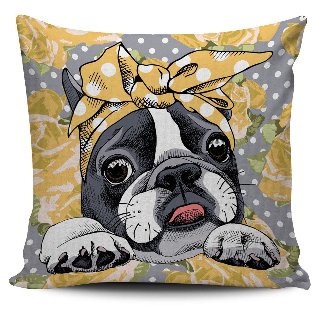 Floral Boston Terrier Yellow Pillow Cover