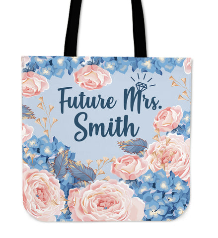 Custom Blue Future Mrs. Linen Tote Bag